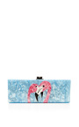 Flavia Flamingo Pearlescent Acrylic Clutch by EDIE PARKER Now Available on Moda Operandi