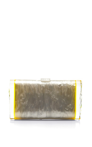 Medium edie parker yellow lara pearlescent acrylic clutch