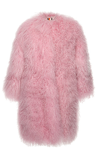 Medium msgm pink pink mongolian lamb coat