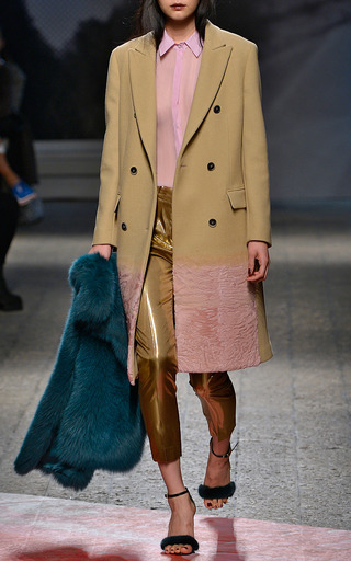 Camel Wool Coat With Pink Fur Trim by MSGM Now Available on Moda Operandi