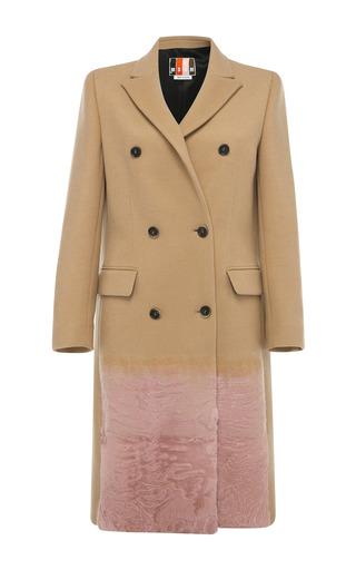 Medium msgm brown camel wool coat with pink fur trim