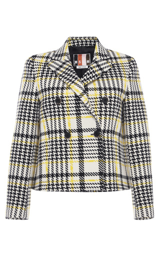 Medium msgm multi pixelated prince of wales wool felt jacket