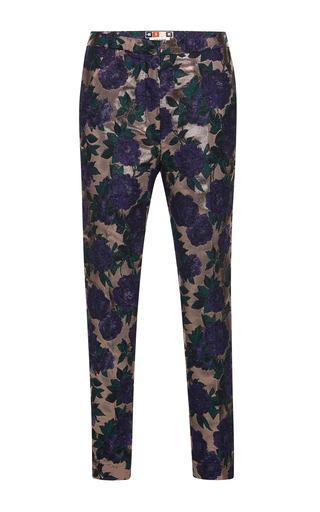 Medium msgm purple rose lurex brocade trousers
