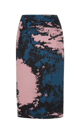 Medium msgm pink woodgrain cloque pencil skirt
