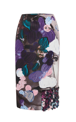 Medium msgm print beauty and art embellished duchesse skirt
