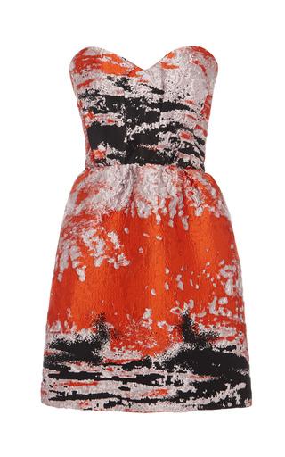 Medium msgm orange woodgrain cloque bustier dress