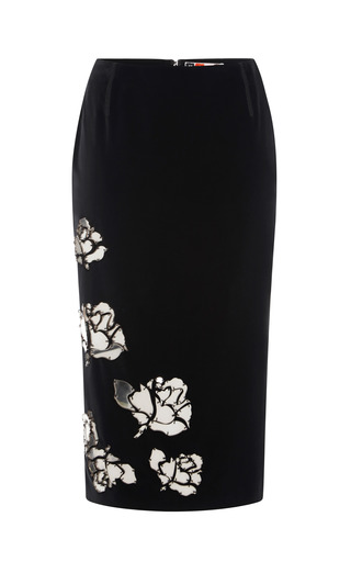 Medium msgm black embellished velvet pencil skirt