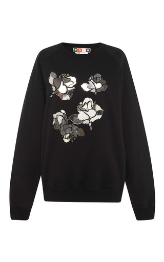 Medium msgm black mirrored flower sweatshirt