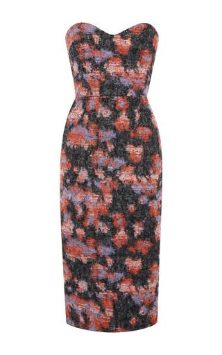 Medium msgm multi lurex brushed jacquard houndstooth sheath dress