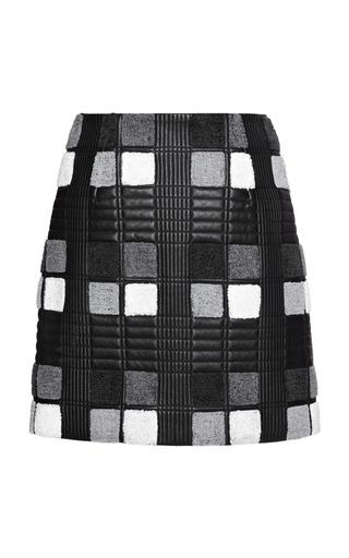 Medium marco de vincenzo black light tartan nappa skirt 2