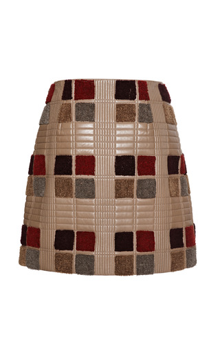 Medium marco de vincenzo brown light tartan nappa skirt