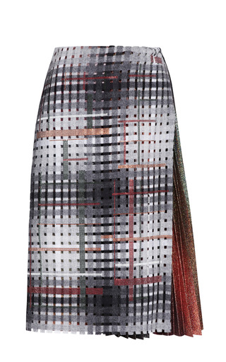 Medium marco de vincenzo multi perforated flannel and lurex applique skirt