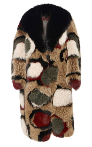 Medium marni olive olive intarsia fox fur coat