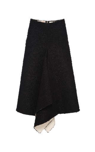 Medium marni black curly wool and nappa plonge skirt