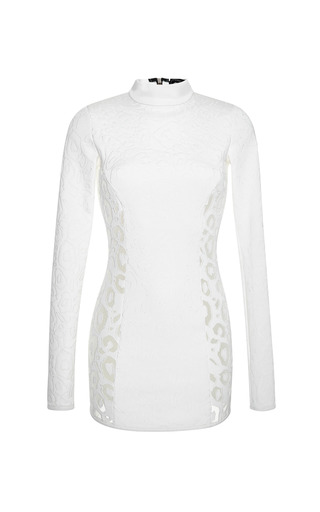 Medium anthony vaccarello white long sleeved dress with embroidered sides