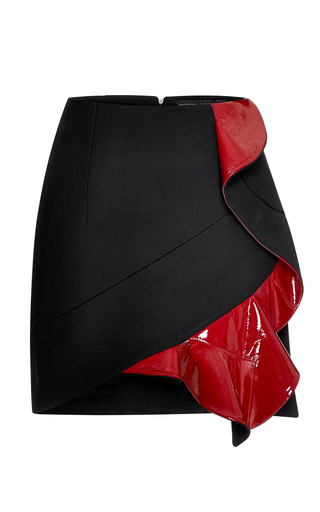 Medium anthony vaccarello red three button ruffle felt mini skirt