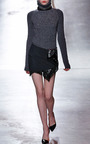 Three Button Embroidered Ruffle Leather Mini Skirt by ANTHONY VACCARELLO for Preorder on Moda Operandi