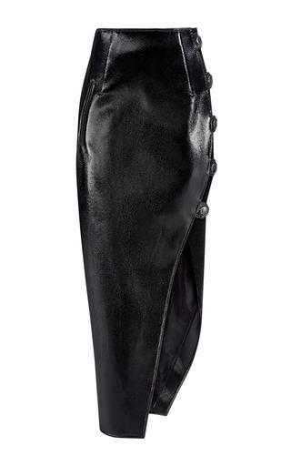 Medium anthony vaccarello black long wrap around skirt
