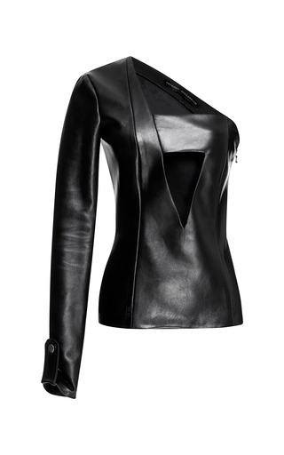 Medium anthony vaccarello black asymmetric one sleeve leather top