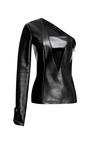 Asymmetric One Sleeve Leather Top by ANTHONY VACCARELLO for Preorder on Moda Operandi