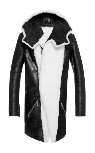 Medium anthony vaccarello white shearling duffle coat with contrast