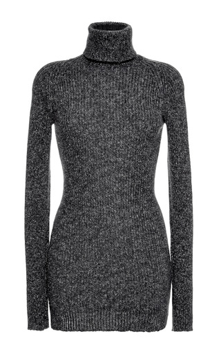 Medium anthony vaccarello dark grey short turtleneck dress 2