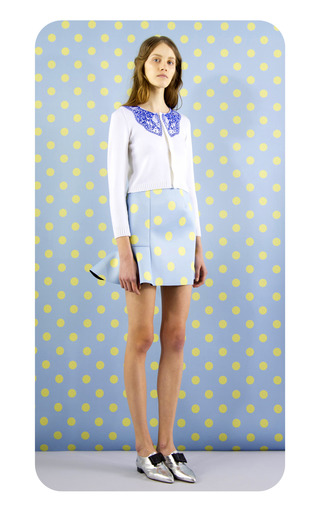 Eva Scuba Dot Skirt In Pale Blue by VIVETTA for Preorder on Moda Operandi