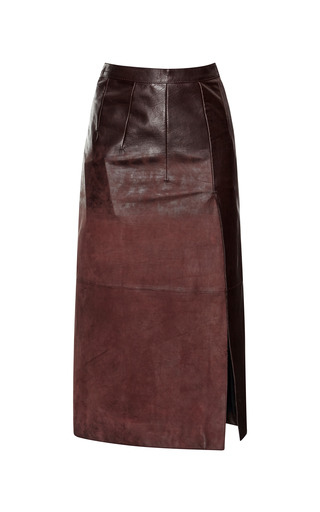 Marrone Acid Washed Nappa Pencil Skirt by AQUILANO.RIMONDI for Preorder on Moda Operandi