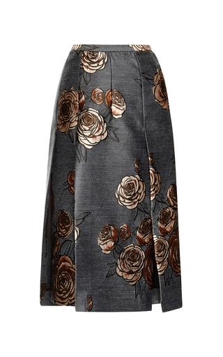 Medium aquilano rimondi dark grey charcoal rose jacquard pencil skirt