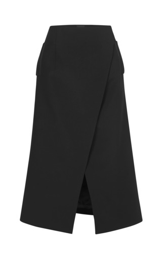 Medium josh goot black tuxedo tailoring long line wrap skirt