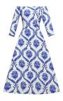Porcelain Wallpaper Off Shoulder Dress by TATA NAKA for Preorder on Moda Operandi