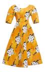 Orange Wallpaper Full Skirt Dress by TATA NAKA for Preorder on Moda Operandi