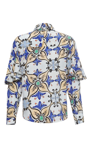 Blue Tile Ruffle Blouse by TATA NAKA for Preorder on Moda Operandi