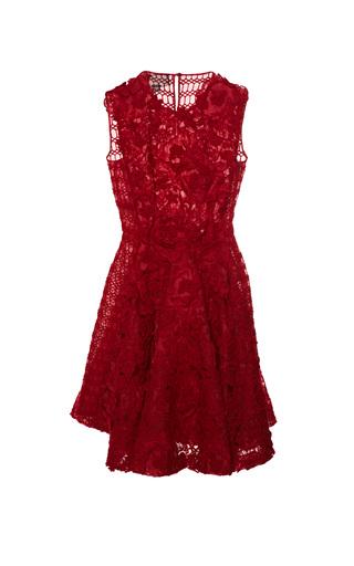 Medium giambattista valli red brushed floral macrame front panel dress