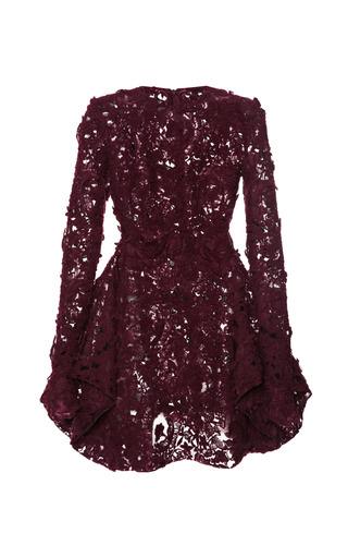 Medium giambattista valli burgundy brushed floral macrame dress with petal skirt 2