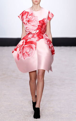 Large Rose Dress With Petal Skirt by GIAMBATTISTA VALLI for Preorder on Moda Operandi