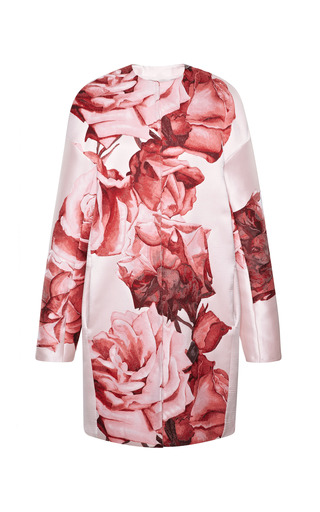 Medium giambattista valli print large rose drop shoulder coat