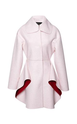 Medium giambattista valli pink two tone felt coat with petal skirt