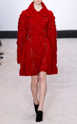 Felted Mohair Jacquard Robe Coat by GIAMBATTISTA VALLI for Preorder on Moda Operandi