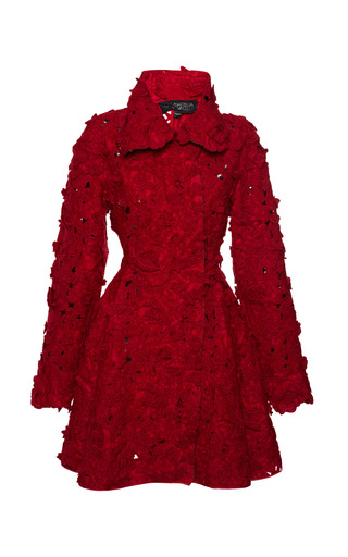 Medium giambattista valli red felted mohair jacquard robe coat