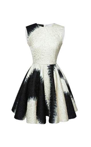 Medium giambattista valli print metallic stamped jacquard dress with wheel skirt