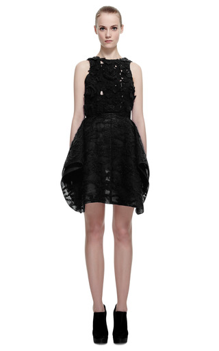 Felted Mohair Jacquard Dress With Petal Skirt by GIAMBATTISTA VALLI for Preorder on Moda Operandi