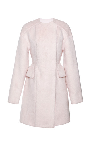 Medium giambattista valli pink long hair alpaca double breasted peacoat