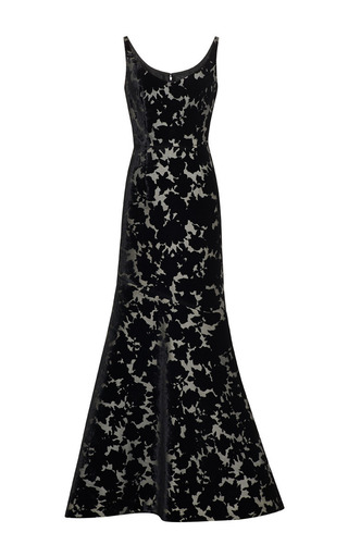 Medium oscar de la renta black black printed sleeveless gown