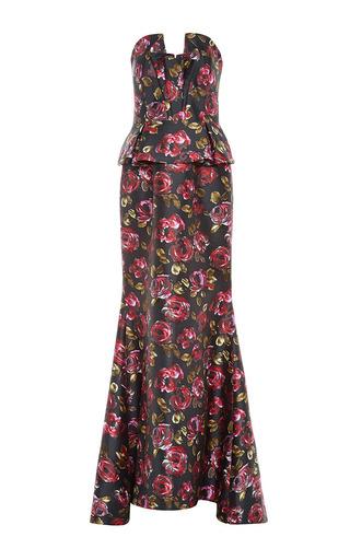 Medium oscar de la renta purple floral bustier gown