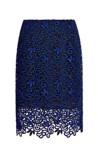 Medium oscar de la renta blue mid length giupure lace skirt