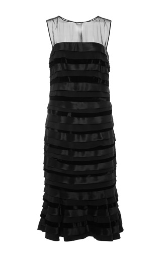 Medium oscar de la renta black sleeveless mid length coktail dress