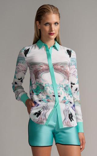 Medium prabal gurung floral printed draped back blouse