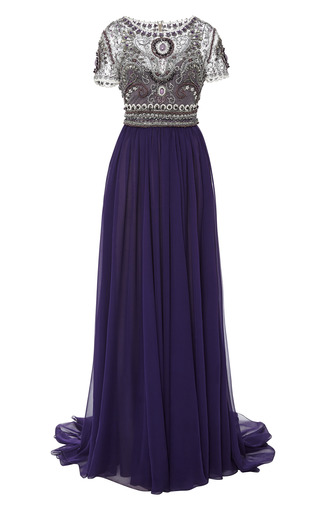 Medium marchesa purple short sleeve gown with fully embroidered bodice