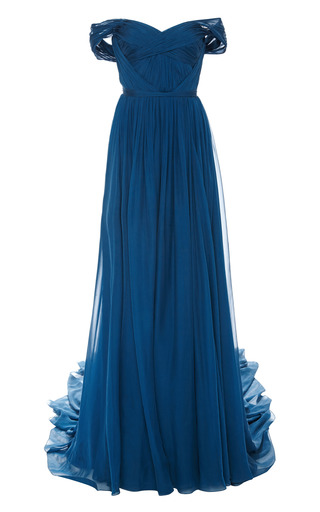 Medium marchesa blue teal chiffon off the shoulder gown